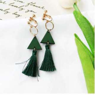 Dark Green Tassel Earring