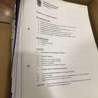 Raffles Institution (JC) Lecture Notes + Tutorials