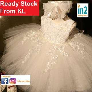 (Free Delivery) Baby Clothing Girls Dress Tutu Flower Girl Ribbon Princess White Wedding Dress