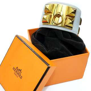 Authentic HERMES Collier de Chien Bracelet O Square Stamp WHITE Epsom Leather GOLD Hardware