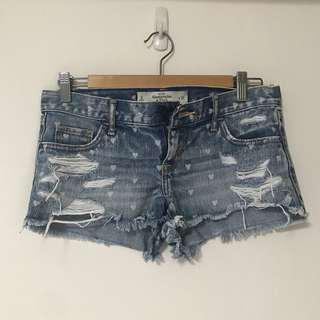 Authentic A&F Distressed Heart Denim Shorts