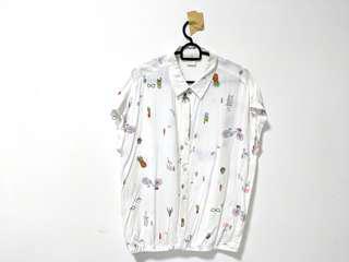 🚚 Owls & Cactus print blouse BNWT
