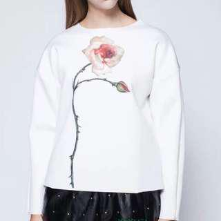 White sweatshirt with a realistic pink rose
