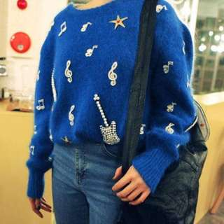 Delicate royal blue Sweater / Jumper with pearls guitar and musical note