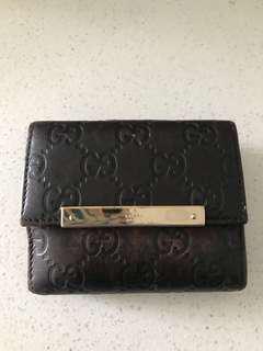 Gucci Guccissima Leather Bifold Wallet Purse Dark Brown