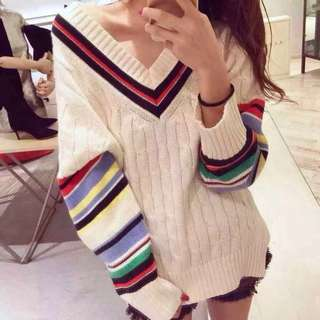Creamy white v-neck sweater/ jumper with colorful striped sleeves