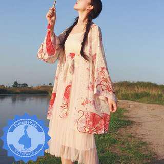 原單 兩件式 日系印花和服浴衣外套+腰封 套裝 U180712 Cosplay Kimono Style $123 預購 包平郵