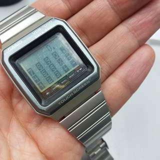中古vintage Casio 90年代多功能touch screen 手錶,計算機,世界時間,全日曆等等,當年算先進多功手錶