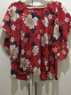 Zara Open Back Floral Blouse
