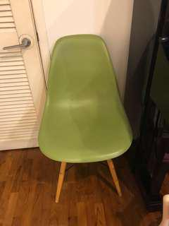 Eames inspired chair green with wooden legs