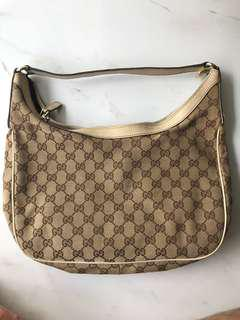 Gucci White Leather GG Jacquard Canvas Charmy Bag