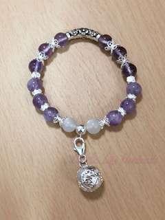 天然石紫水晶X白月光石925純銀香薰油手鏈