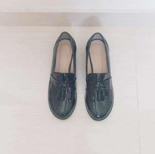 韓國文青復古黑皮鞋