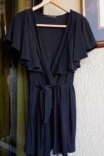 Black Loalde Wrap Dress