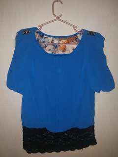 Blue stylish blouse