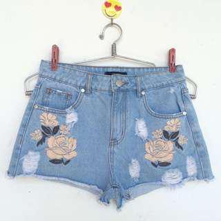 Forever 21 Embroided Highwaist Shorts