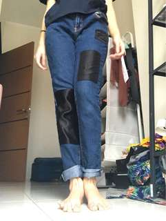 Jeans Mid HW PATCHED dark blue navy