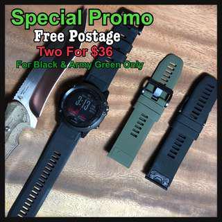 🚚 [2 For $36]Garmin Fenix 5X Army Green & Black Strap Only