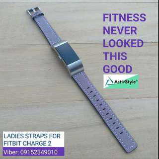 Slim leather straps for Fitbit Charge 2, perfectly designed for ladies.  Available in Purple and Black