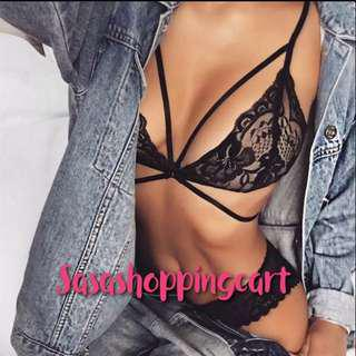 😆FREE SHIPPING* under 500g😆(Black) Sexy steel ring without sponge black hollow burst chest exposed love bra underwear