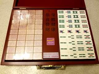 全新 未開封 水晶麻雀 麻雀 木盒 Mahjong Mah Jong Crystal MJ Aeon