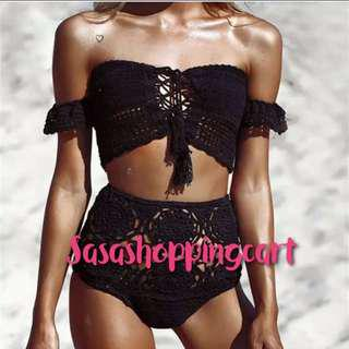 😆FREE SHIPPING* under 500g😆(Black) Europe and the United States foreign trade resort swimsuit braid wrapped chest shirt bag hip shorts hollow split swimsuit sexy swimsuit