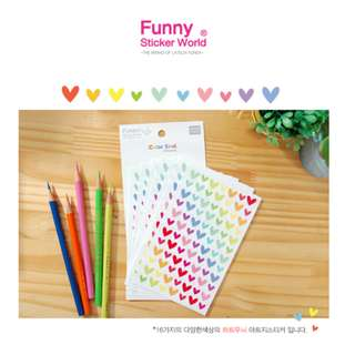 Funny Sticker World Color Seal  心心漸變色相紙貼/記事本貼 made in Korea