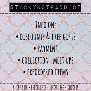 Info on discounts & free gifts , payment , collection etc