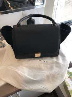 Celine black leather large trapeze bag with gold hardware