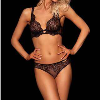 Honey Birdette Black Lace Bra Set