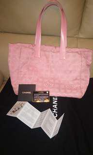 CHANEL - Nylon (Travel line) pink tote shoulder bag ( 有全套卡 & 塵袋 )
