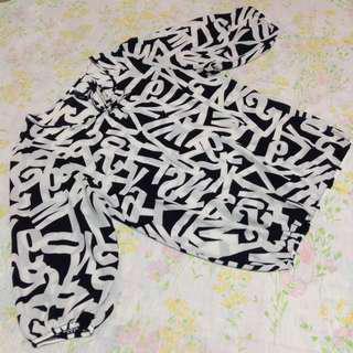 Black & White Letter Design Chiffon Top