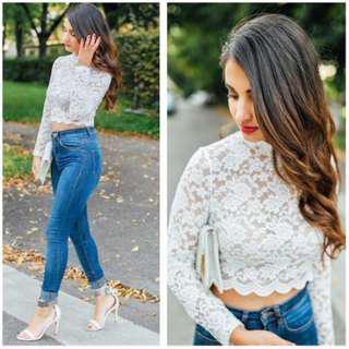 H&M - Scalloped Lace Crop Top - Aus size M