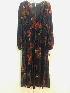 xhilaration Long Open-front Flowy Dress