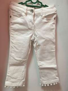 White pom pom jeans 5Y