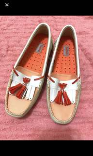全新SWIMS loafers橙色x米色鞋 size 37