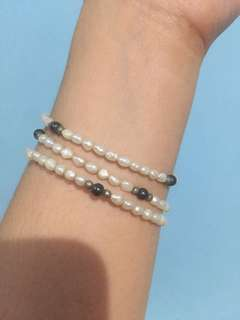 3 strands authentic freshwater ricepearl bracelet