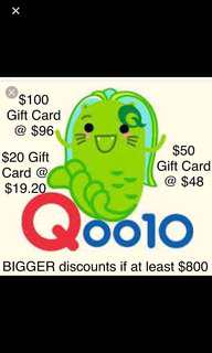 Qoo10 Gift Card ($20, $50, $100) Q10 Voucher