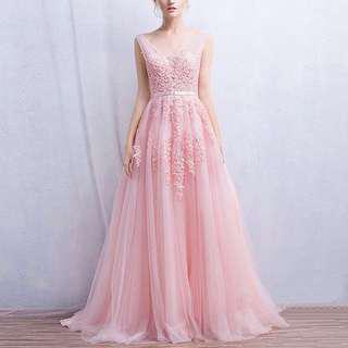 👭 Blush Pink Flare Gown (Rental)
