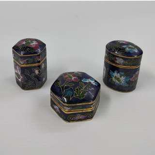 Set Of 3 Vintage Chinese Cloisonne Jewelry Box Gold Plated Copper Enamel Trinket Box