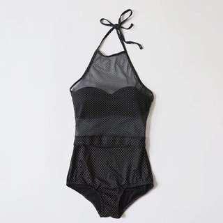 🚚 《現貨快速出貨》透膚點點性感鋼圈顯胸後綁帶連身高腰泳衣/溫泉衣(黑)