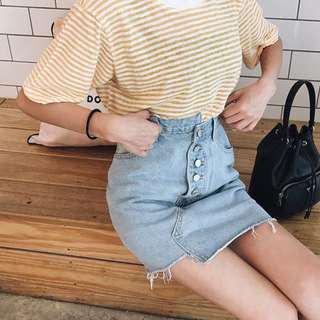 🚚 排釦不規則牛仔裙
