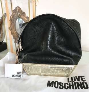 Love moschino black gold backpack VGC with card and db