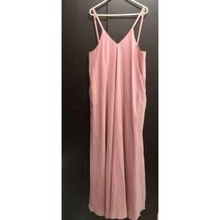 Old Rose Sideboob Long Dress
