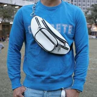 White Faux Leather Crossbody Belt Bag Fannypack