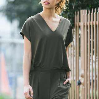 Uniqlo Jersey Short Sleeve Jumpsuit in Olive Green and Navy Blue