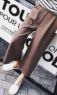 休閒羅紋寬褲 八分褲