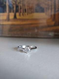 18k 26份鑽石戒指 介子 白金 12號圈 diamond gold ring (d色,vs-si淨度)