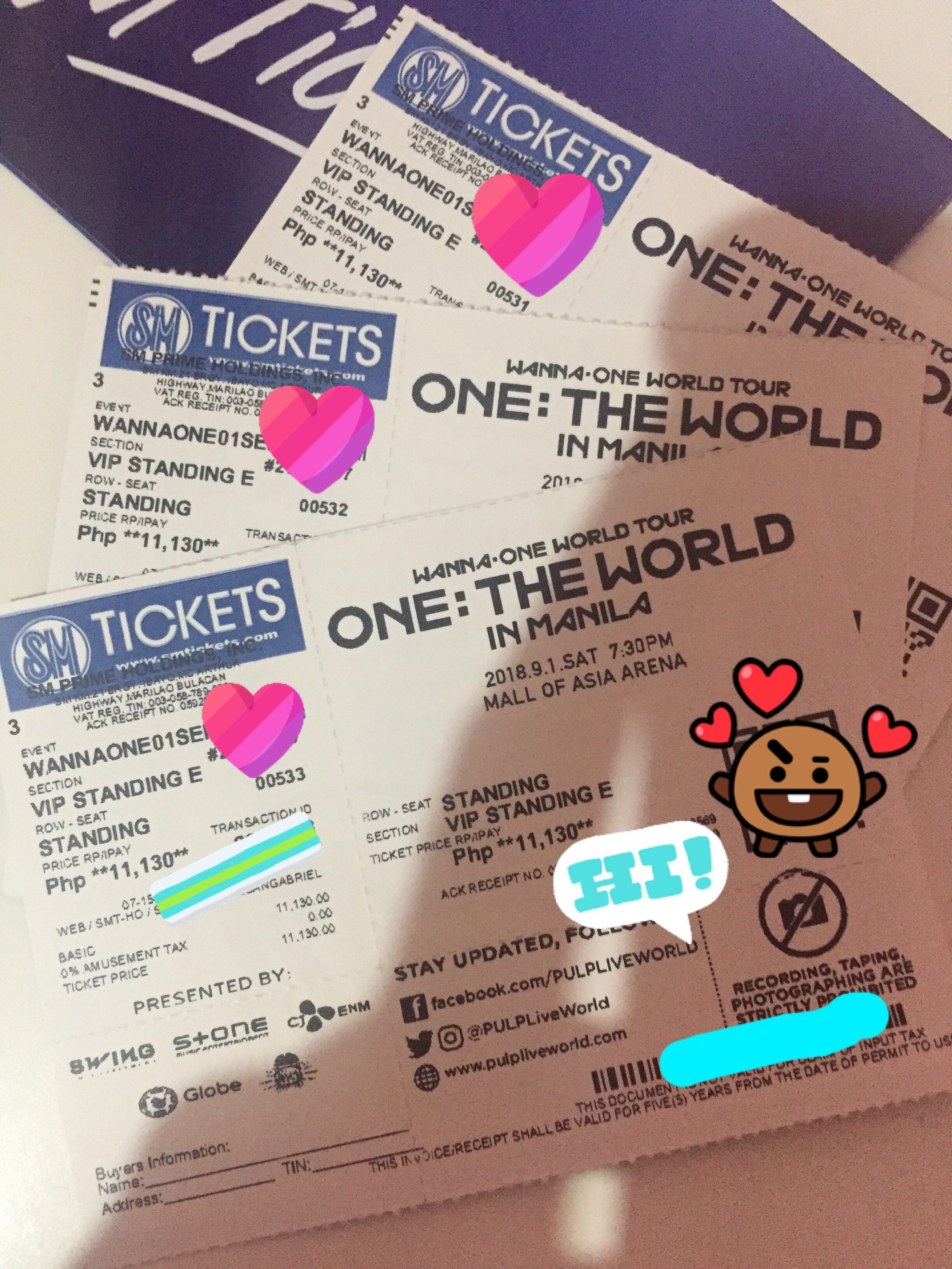 Concert tickets.(3) VIP Standing E One:The World Concert tickets, Tickets/Vouchers, Event Tickets on Carousell