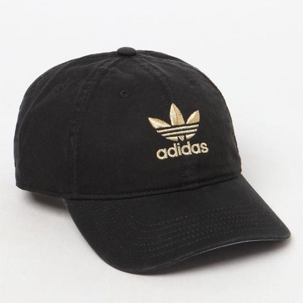 Adidas Originals Black Gold Trefoil Cap Men S Fashion Accessories